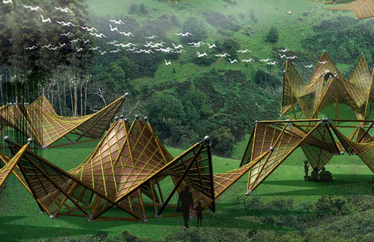 The Origami-Inspired Folding Bamboo House - Bamboohuts534 1