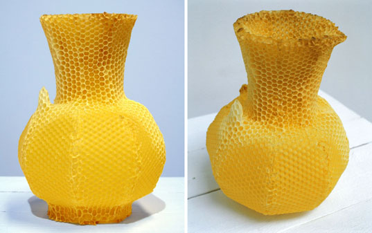 Bee vase, vase made by bees, beeswax vase, dutch design, dutch design vase, studio libertiny, thomas gabzdil libertiny
