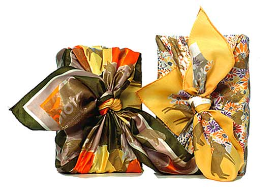 Posch Biota Collection, reusable eco-friendly silk, gift wrapping, furoshiki, holiday 2007