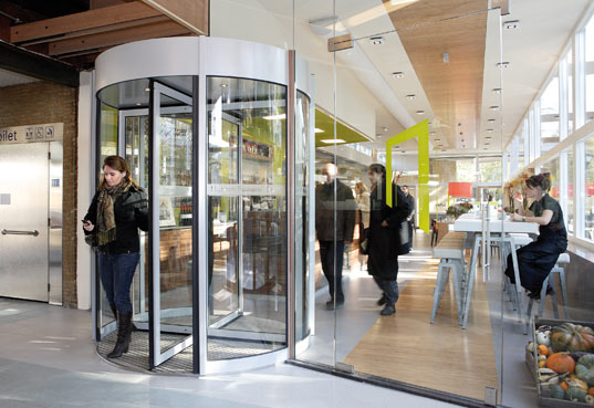 electricity generating revolving door, RAU, Boon Edam, Nature Cafe La Porte, Netherlands ingenuity, netherlands revolving door, kinetic energy, kinetic motion, energy generation by walking