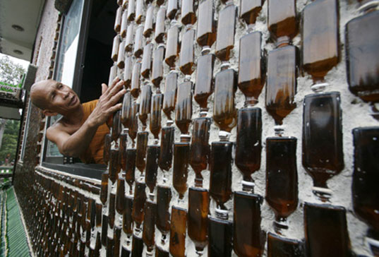 Temple of a Million Bottles, Sustainable Building, Recyclable Building Materials, Bottle Bricks, Wat Pa Maha Chiei Kaew