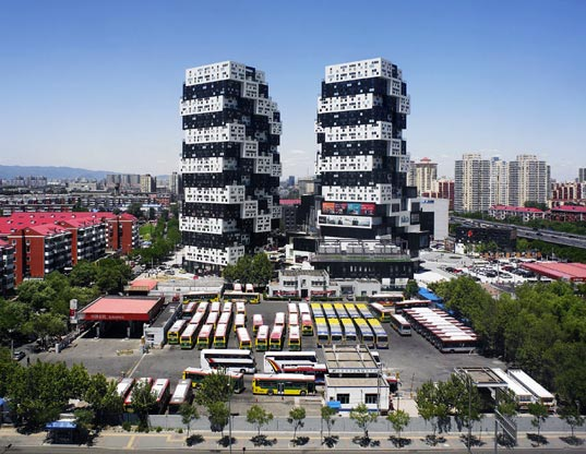sustainable design, green design, green building, energy efficient architecture SAKO Architects, BUMPS in Beijing, WAN Awards, residential and commercial buildings, rotate buildings 45 degrees, BUMPS housing complex