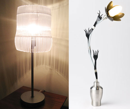 BVD Collective, Recycled Plastic Cutlery Lamp, Recycled Utensils, Recycled plastic utensil design, lamp from plastic knifes, lamp from plastic forks, reclaimed design, recycled design, Dada, innovation, Appalachian State University's Industrial Design , Appalachian college, Knife lamp, Black Valley Design Collective