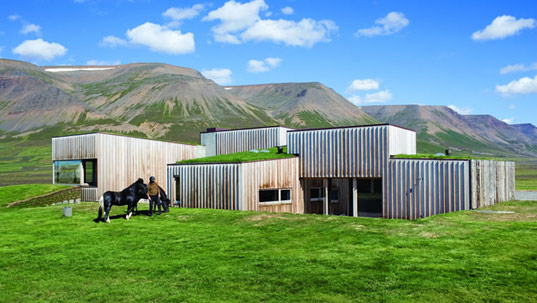 hof house, studio granada architects, sustainable architecture, green building, green roof, geothermal heating, locally-sourced reclaimed materials