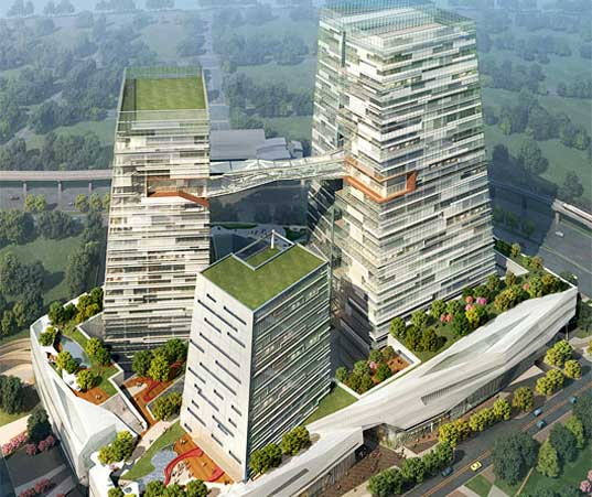 nbbj architects, chinatrust headquarters taiwan, sustainable architecture, green building, energy efficient architecture, green roof skyscraper, high rise