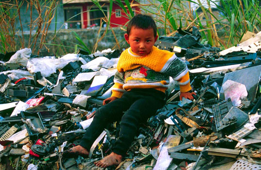 TAKEBACK MY TV: Think Before You Recycle, Basel Action Network, Chinese kids sitting on e-waste, E waste, Electronics waste, electronics landfill, toxic tech, electronic waste in china, Take back my TV