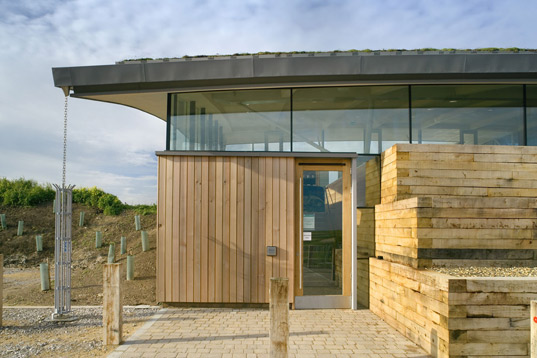 cley marshes visitor center, sustainable architecture, green building, lsi architects, norfolk wildlife trust, emirates glass leaf awards, geothermal energy, solar energy, wind turbine, renewable energy