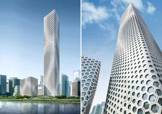 MAD architects, Sinosteel Plaza, biomimicry, Tianjing, Bohai Bay, green skyscraper, eco friendly skyscraper, green building, energy-efficiency, energy-efficient, hexagonal tower, hexagon