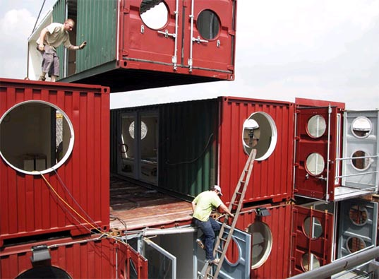 Container City, Recycled Shipping Container Prefab, Reclaimed Design, Cargo container prefab, Shipping Container City, Green Container Architecture, Sustainable Design, Sustainable Prefab Container Architecture, Urban Space Management, Urban Space Management,