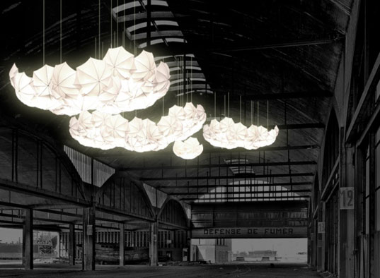 Cumulus Light Canopy, Steven Haulenbeek, Steve Haulenbeek, Chicago designer, umbrella light, umbrella lamp, umbrella chandelier