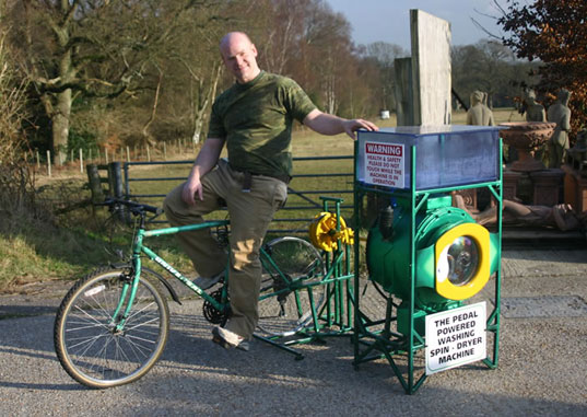 pedal-powered washer, Cyclean, eco appliances, green your appliances, green washer, eco washer, eco dryer, green dryer