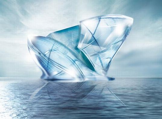 Sustainable design green design blue crystal dubai iceburg