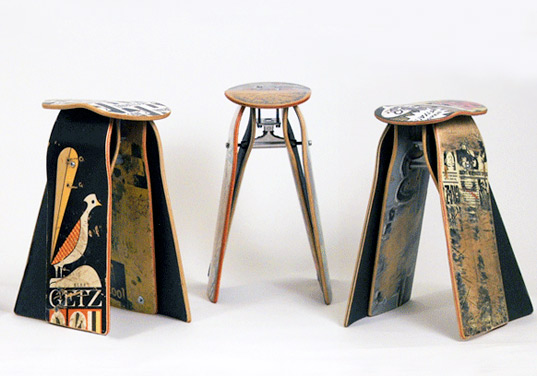 deckstool, philadelphia, skateboard, reclaimed wood, repurposed, skating, jason podlaski, skateboarding, art, craft, furniture, stool