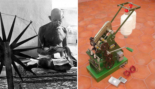 e-charkha, rs hiremath, energy generating spinning wheel, alternative energy, led light, kinetic energy, socially responsible design, green design, renewable energy