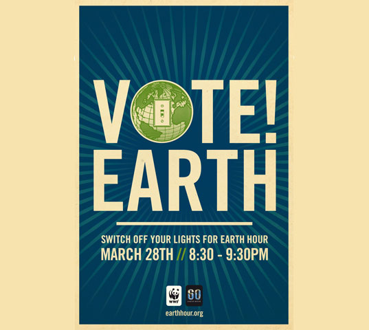 earth hour 2009, shepherd fairey poster earth hour, climate change activism, environmental activism