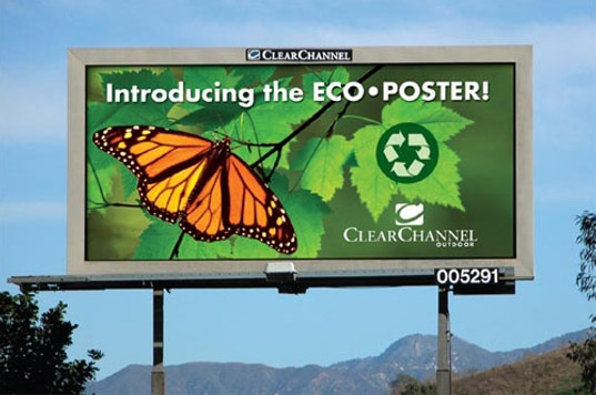 eco billboards, polyethylene posters, sustainable design, green communication design, recyclable materials, pvc alternative, eco-flex billboards, circle graphics, eco-friendly materials