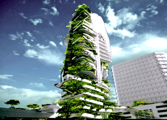 t.r. hamzah & yeang, sustainable skyscraper, editt tower, singapore sustainable architecture, living walls, solar power, biogas power, green building