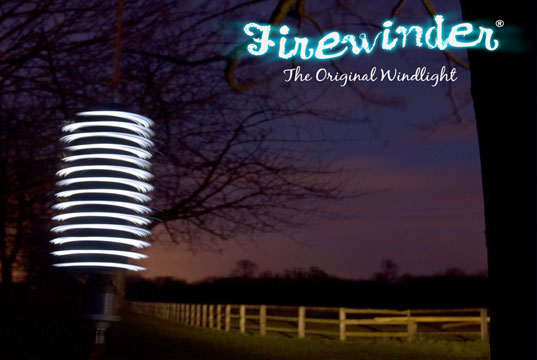 Firewinder, Twirly Wind-powered LED lamp, Wind powered LED light, Wind powered outdoor light, windmill light, spinning wind-powered light, LED wind helix, wind-power, renewable energy, cleanteach, clean tech, green energy, green light, eco-light