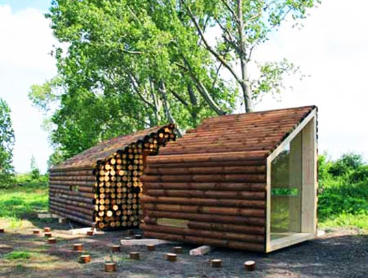 flake house, modern log cabin design, olgga, olgga architects, sustainable log cabins
