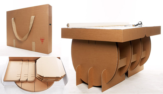 Portable cardboard table from liborius reykjav k for Table flat design