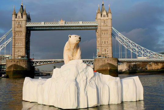 floating polar bear art, global warming art, climate change art, polar bears in the thames, melting ice caps, polar bears in london, eden tv, polar bears climate change, melting ice cap, north pole habitat climate