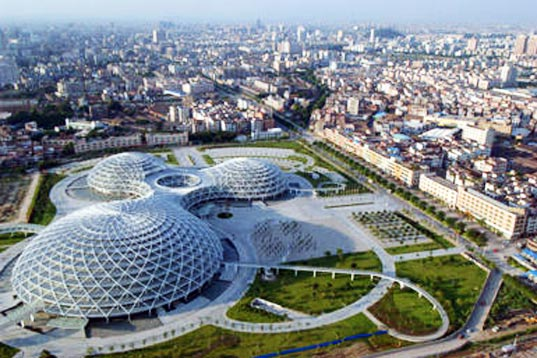 foshan gymnasium, pearl gymnasium, china green, sustainable design, green design, architecture