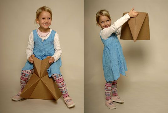 Foldschool 8, Cardboard furniture, DIY furniture, kids furniture, origami furniture, foldup furniture, Nicola Enrico Stäubli, green folding furniture, foldup cardboard furniture for kids, origami cardboard furniture, eco-friendly folding cardboard kids furniture,