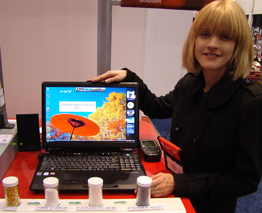 FUJITSU ANNOUNCES LAPTOP MADE FROM CORN, Fujitsu Corn based biopolymer laptop casing, Jill Fehrenbacher, CES, Consumer Electronics Show, Fujitsu Corn Laptop