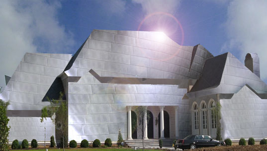 Frank Gehry McMansion, Gehry McMansion, Gehry Residence in Los Angeles, photoshopping art, copyright Jill Fehrenbacher