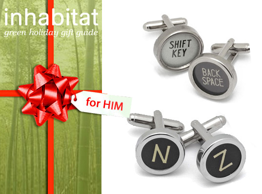 gift-guide-for-him-lead-image-cufflinks, green gift guide, green gifts for him, green gifts, eco gifts, sustainable gifts, holiday, green christmas, gifts for men