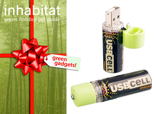 inhabitat gift guide, USB batteries, green cell batteries, green gadget, holiday gift guide, green design, sustainable technology, green gadget gift guide