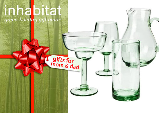 inhabitat green gift guide, holiday gift guide, sustainable design, mom and dad gift guide, parents gift guide, holiday present guide, green design gift guide, target recycled glassware