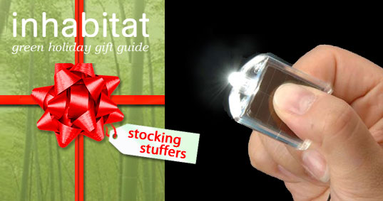 Inhabitat Green Gift Guide, Green Stocking Stuffers, Sustainable Stocking Stuffers, Eco Stocking Stuffers, Green Gift Guide, Greener Gift Guide, Green Holiday Gifts, Eco HOliday Gifts, Green Stocking Stuffers, Solar power LED light, mini LED solar powered light, micro solar flashlight, micro solar LED light, compact-impact