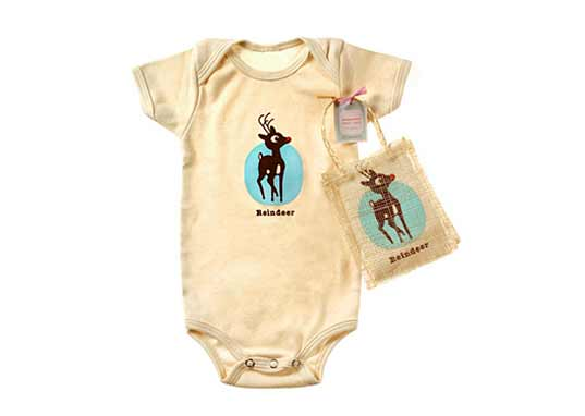Giggle Reindeer organic cotton onesie babies newborn clothing eco-friendly holiday gift-giving