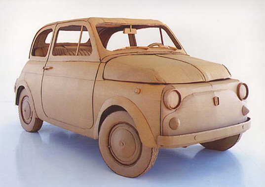 recycled cardboard sculpture, recycled materials sculpture, Chris Gilmour eco-art, Chris Gilmour eco-sculpture, environmental art Chris Gilmour, Fiat 500