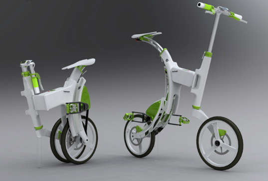 grasshopper electric bike, electricity generating bike, bike that generates power, concept bike, electric foldable bike