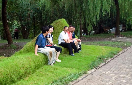 grassy-bench, Floating Green, Ling Fan, environmental art installation, green wall, lawn care, street furniture, grass mat, grass furniture