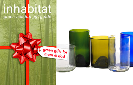 sustainable design, green design, inhabitat green gift guide 2009, green presents, products, recycled glasses, Green Gifts for Mom and Dad