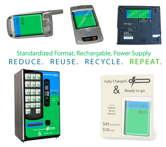 Green Cell Universal Battery, Green Cell Vending Machines, Universal Battery, Standardized battery, Rechargeable power, eco battery, green battery, systems design, Greener Gadgets Design Competition, Green Gadgets Design Competition, Greener Gadgets winner Core 77, universal battery, standardized rechargeable power supply, Theo Richardson, RBW Design