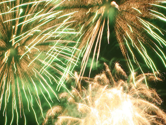 Fourth of july, green holiday, green fireworks