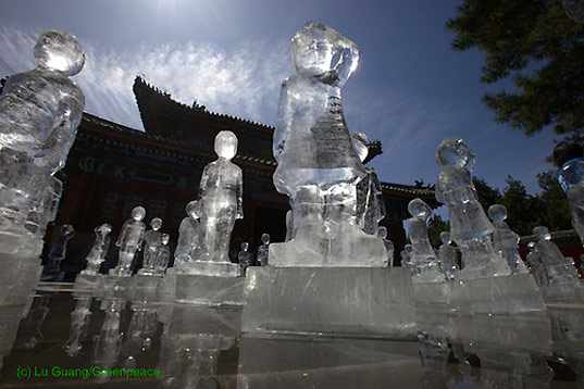 Greenpeace Ice Sculptures in Beijing, Lu Guang, copenhagen climate summit, united nations climate summit, climate change activism, political activism, tcktcktck campaign launch, greenpeace, climate change, environmental art, climate change art