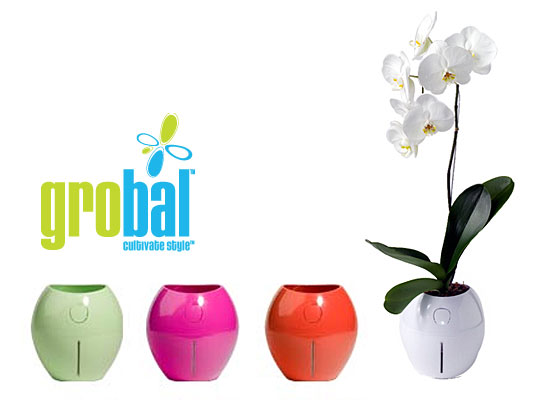 Grobal, self watering pot, hydroponics, Karim Rashid, green home gardening, tech plants, hi tech plants, self-watering planter, green design home accessory, interiors gardening, DIY horticulture, self-watering plant, home ecology, house plants, green your home
