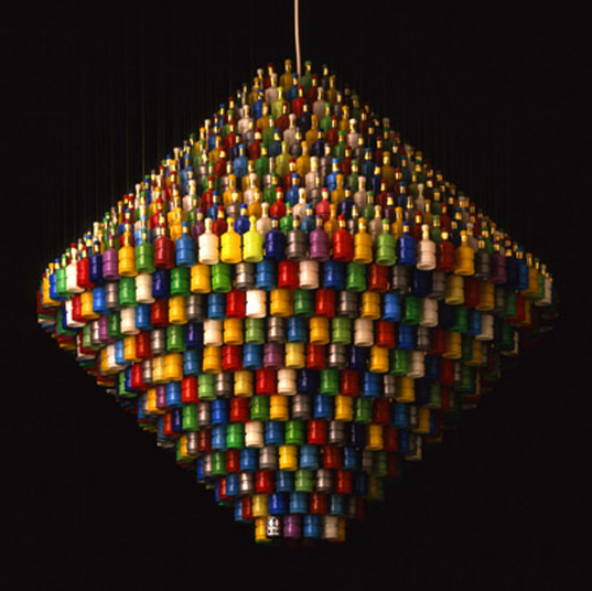 Stuart Haygarth, Millenium Chandelier (Colour) Unlit, Stuart Haygarth Website Photography, Stuart Haygarth, Spectacle (Chandelier), Ariana Mouyiaris, recycled design, reclaimed design, recycled materials, reused materials