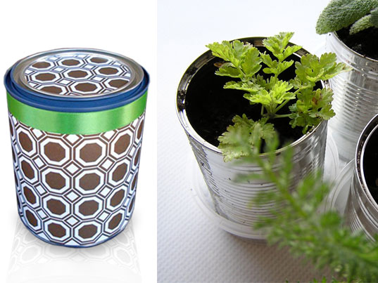 "herb planters, seeds kit, recycled cans, edible, baking, cooking ingredients gifts eco green holiday ""last minute"" guide 2009 diy handmade"