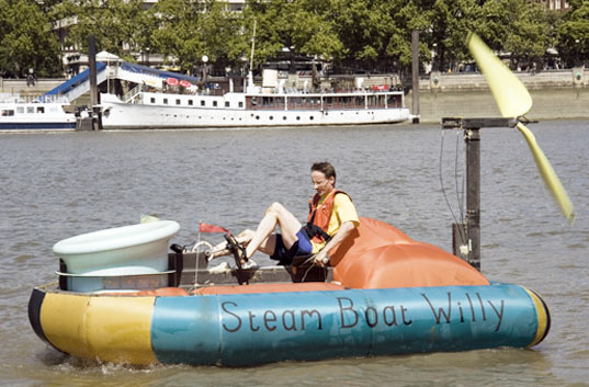 sustainable design, green design, steam boat willy, sustainable transportation pedal power, hovercraft,