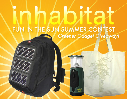 Inhabitat contest, Inhabitat summer sun contest, Greener Gadgets Giveaway, green gadgets giveaway, voltaic solar power backpack, inhabitat competition, inhabitat summer contest