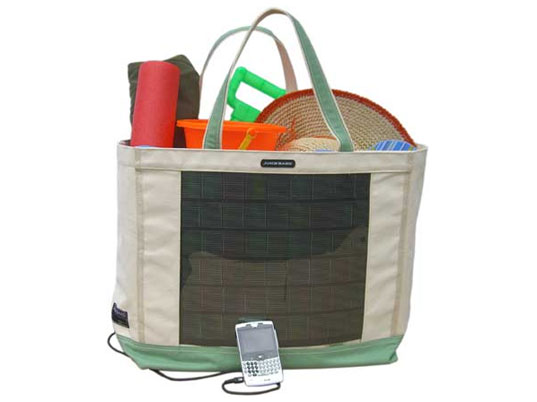 Solar backpack, solar tote, solar bag, solar-powered bag, juice bags, reware, green bags