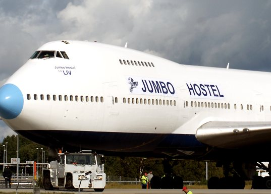 jumbo hostel, reclaimed 747-200, airplane hostel, stockholm, swedish plane, swedish hostel, airplane hotel, decommissioned airplane hotel, green refurbishment of an airplane, reclaimed waste hotel