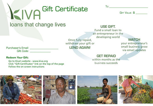 Kiva, Kiva gifts, kiva gift certificate, microloans, micro lenders, gifts that give back