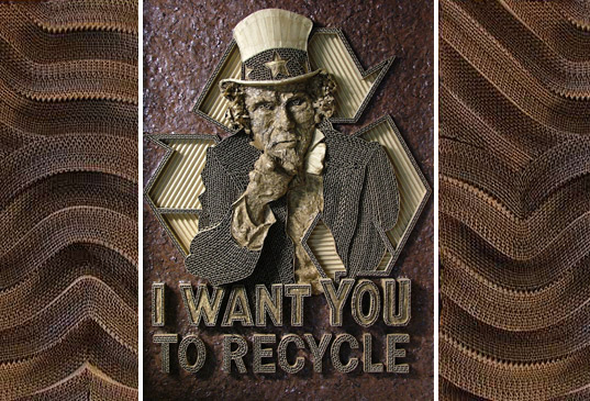 mark langan, corrugated cardboard sculpture, recycled cardboard, recycled cardboard art, corrugated art